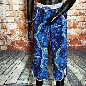Anthropologie E by Eloise Blue Floral Print Pants